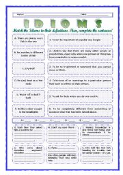 English Worksheet: --*--*--*-- Idioms 10! --*-- Animals --*-- Definitions + Exercise --*-- BW Included --*--*--*-- FULLY EDITABLE WITH KEY!