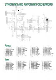 CROSSWORD: SYNONYMS AND ANTONYMS OF ADJECTIVES