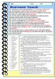 English Worksheets: Business Speak