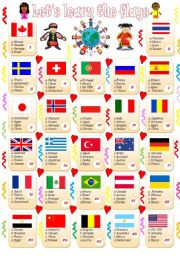 English worksheet: let´s learn the flags