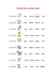 English Worksheets: Circle the Correct One