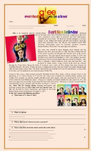 English Worksheet: Glee: everybody wants to be a loser!