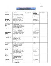 English Worksheets: Contents of  a Dead Man�s Pocket Vocablulary