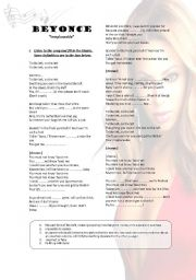 "English Worksheets: Beyonce- ""Irreplaceable"" Listening activity"