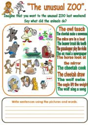English Worksheets: THE UNUSUAL ZOO.