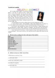 English Worksheet: Selena Gomez