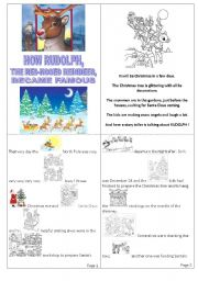 English worksheet: How Rudolph, the Red-Nosed reindeer, saved Christmas Night. Mini book.