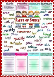 English Worksheet: Parts of speech 2 - adverbs, prepositions, conjunctions, interjections
