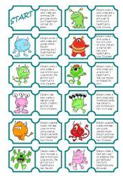 English Worksheet: Monsters Dominoes (body parts)