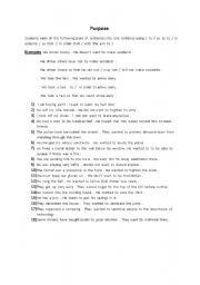 English Worksheet: Expressing  purpose