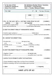 English Worksheet: another quiz for bac students in morocco