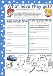 English Worksheet: what have they got (he´s got, she´s got, his/her)