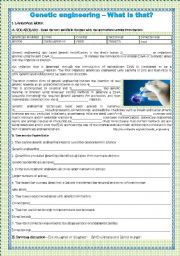 English Worksheet: Genetic engineering - What is that?
