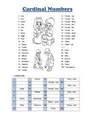 Cardinal Numbers From 1 to 100 - ESL worksheet by N_Ponte