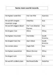 English Worksheets: World records matching exercise