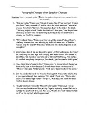 Worksheet Freak The Mighty Worksheets english teaching worksheets paragraphs paragraph change when speaker chnages