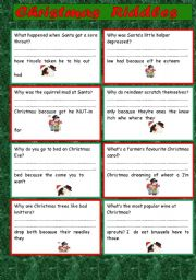 Christmas Riddles For Kids.Christmas Riddles Esl Worksheet By Ritawi