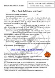 english worksheet where does halloween come from and jack o lantern quiz