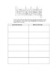 English worksheets: Foreshadowing Worksheet
