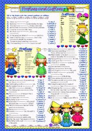English Worksheet: WORD FORMATION - 3***PREFIXES&SUFFIXES*** (B&W+KEY included)
