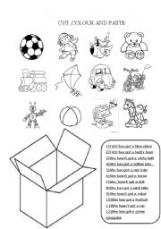English Worksheet: CUT,COLOUR AND PASTE THE TOYS