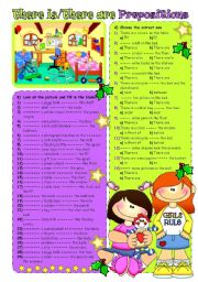 English Worksheet: PREPOSITIONS + THERE IS - THERE ARE