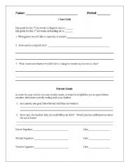 English Worksheets: Goal Setting Form