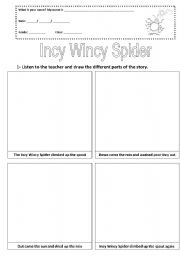 English Worksheet: Incy Wincy Spider story