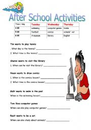 after school activities - ESL worksheet by orlyar1