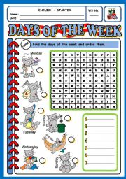 English Worksheet: DAYS OF THE WEEK