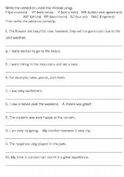 grammar correct the writing mistakes esl worksheet by gingerbee. Black Bedroom Furniture Sets. Home Design Ideas