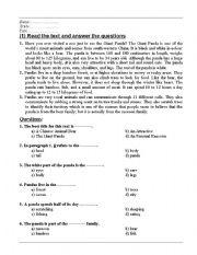 English Worksheets: Reading Animals