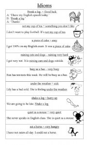 Idioms - Mrs. Warner'-s 4th Grade Classroom