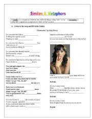English Worksheet: Teach similes & metaphors using Katy Perry�s song