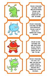 English Worksheet: Monsters memory game (28 cards)