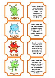 English Worksheet: Monsters memory game (28 cards) WITH NAMES