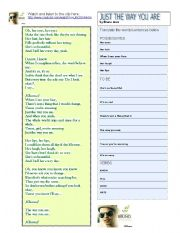 English Worksheets: BRUNO MARS; JUST THE WAY  YOU ARE