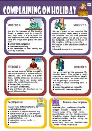 English Worksheets: Role play for intermediate students: Complaining in a  holiday resort