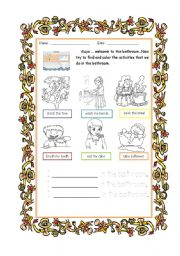 English worksheet: activity in the bathroom - coloring, tracing, writing