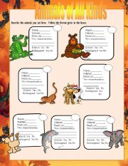 English Worksheets: Types of animals