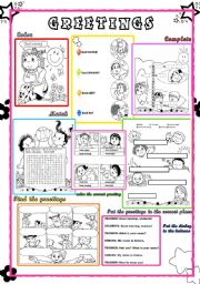 English worksheet: Greetings for practicing