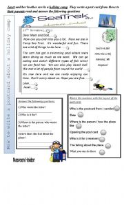 English Worksheets: Writing a post card
