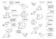 English Worksheets: Animals 3 (sounds)
