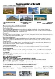 English Worksheet: 7 wonders of the world