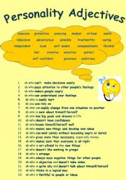 English Worksheet: Personality Adjectives (Key is Provided)