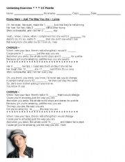 English Worksheets: Just The Way You Are Bruno Mars Listening Test