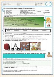 Test 1 simple past, past continuous, articles, used to and vocabulary