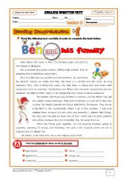 English Worksheet: Family Test (7th grade) Version B + correction