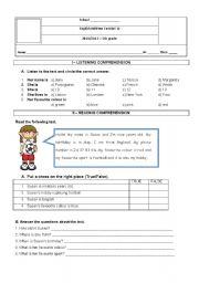English Worksheets: English test 5th grade