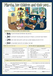 English Worksheets: Martha, her chidren and their pets...